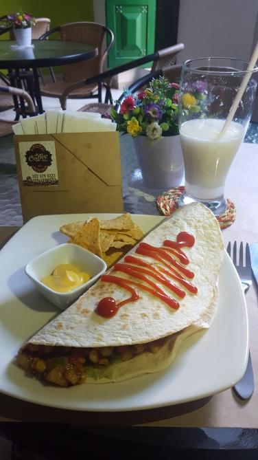 Quesadilla vegetariana en Coffe House (foto de Chusa Cuendias)