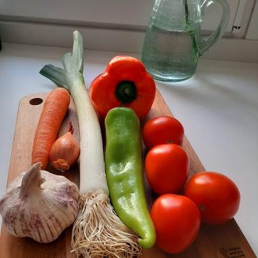 Ingredientes para el relleno de la empanada vegana. Chusa Cuendias