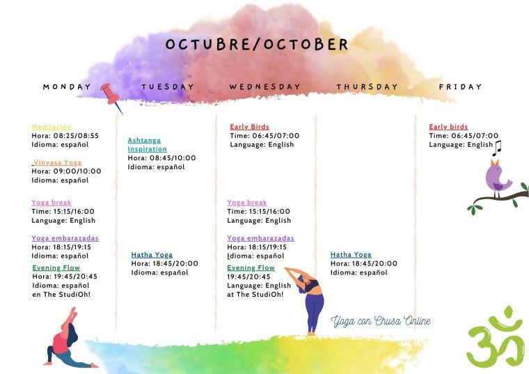 Horario de clases Online Octubre. Yoga con Chusa